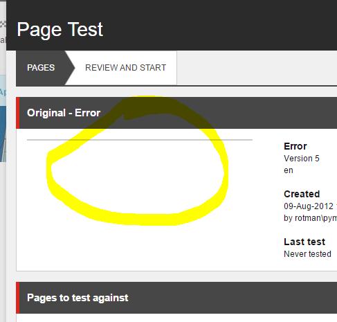Page Test - Screenshot errors 1
